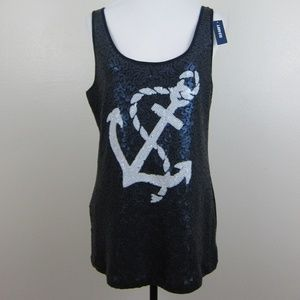 Old Navy Tank Top Tunic XL Blue Anchor Sequins